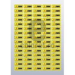 Sticker Atentie Tensiune 230 V - Set 75 Bucati (1.5x3.5cm / buc.)