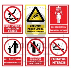 Fumatul Interzis Saritul in Piscina Podea Umeda Dus Obligatoriu Consumul de Bauturi