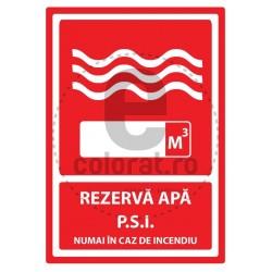 Rezerva Apa P.S.I. Numai in Caz de Incendiu