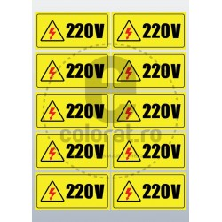 Sticker Atentie Tensiune 220 V - Set 10 Bucati (5 x 10 cm / buc.)