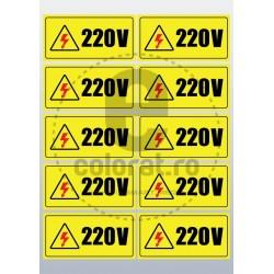 Sticker Atentie Tensiune 220 V - Set 10 Bucati