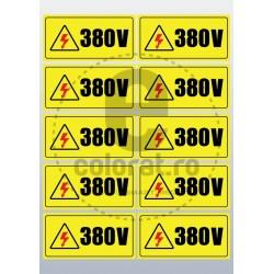 Sticker Atentie Tensiune 380 V - Set 10 Bucati (5 x 10 cm / buc.)