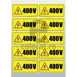 Sticker Atentie Tensiune 400 V - Set 10 Bucati (5 x 10 cm / buc.)