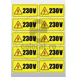 Sticker Atentie Tensiune 230 V - Set 10 Bucati (5 x 10 cm / buc.)