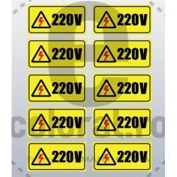 Sticker Atentie Tensiune 220 V - Set 10 Bucati (5 x 2,5 cm / buc.)