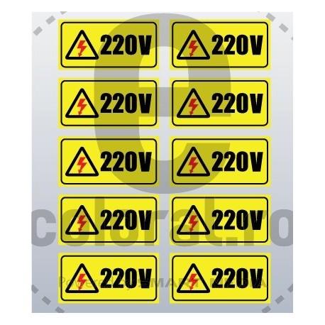 Sticker Atentie Tensiune 220 V - Set 10 Bucati - 5 x 2,5 cm / Bucata