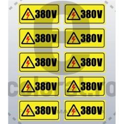 Sticker Atentie Tensiune 380 V - Set 10 Bucati (5 x 2,5 cm / buc.)