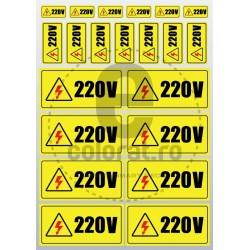 Sticker Atentie Tensiune 220 V - Set 23 Bucati (1.5x3 / 2.5x5 / 5x10 / buc.)
