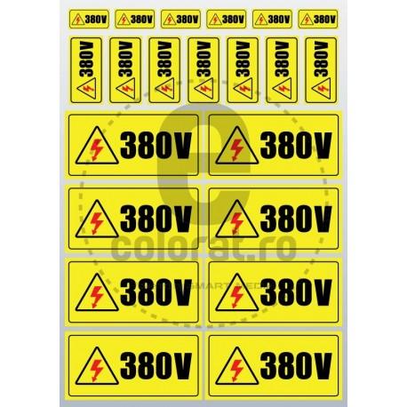 Sticker Atentie Tensiune 380 V - Set 23 Bucati 1.5x3 2.5x5 5x10 cm